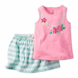 Carter's pink glittery tank top and striped skort